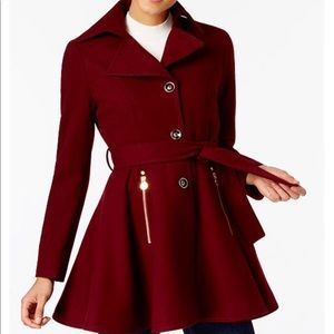 Skirted Burgundy Coat with tie